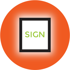 A black framed white sign saying the word sign in green, with a light glow around the frame, over an orange circle.