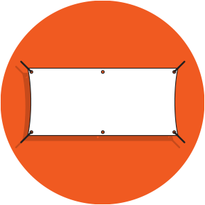 A white banner with eyelets around the edges, pulled out at the corners by black ropes, over an orange circle.