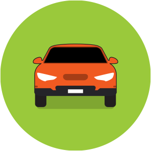 Front view of an orange car on a green circle