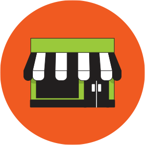 Green shopfront with a black and white striped awning, on an orange circle