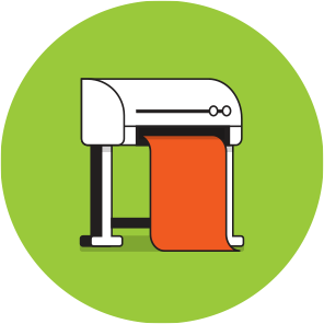 A stand up digital printer with a sheet of orange paper coming out, on top of a green circle